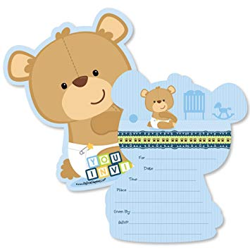 Baby boy teddy bear clipart svg royalty free Baby Boy Teddy Bear - Shaped Fill-in Invitations - Baby Shower Invitation  Cards with Envelopes... svg royalty free