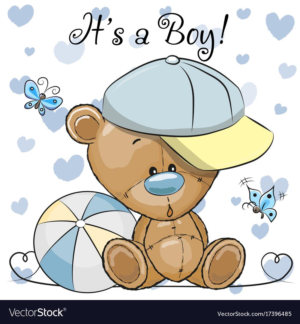 Baby boy teddy bear clipart