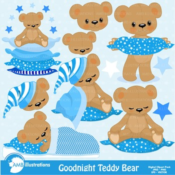 Baby boy teddy bear clipart banner free stock Clipart, Teddy Bear Clip Art in Baby Blue, Nursery, Slumber Party, AMB-982 banner free stock