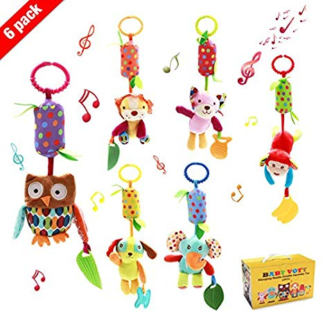 Baby boy teetheres clipart image freeuse download Baby Hanging Rattle Toys, 6 Pack Soft Hanging Crinkle Squeaky Sensory  Educational Toy for 0 3 6 to 12 Months, Infant Animal Wind Chime with  Teethers ... image freeuse download