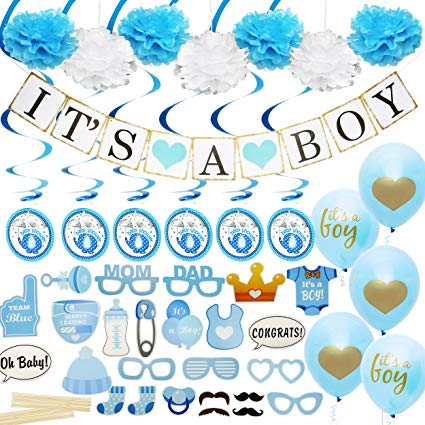 Baby Shower Decorations for Boy - Includes matching \'Its A Boy\' Banner &  Balloons, Cute Photo Booth Props, Blue & White Flower Decor, AND MORE! ... transparent