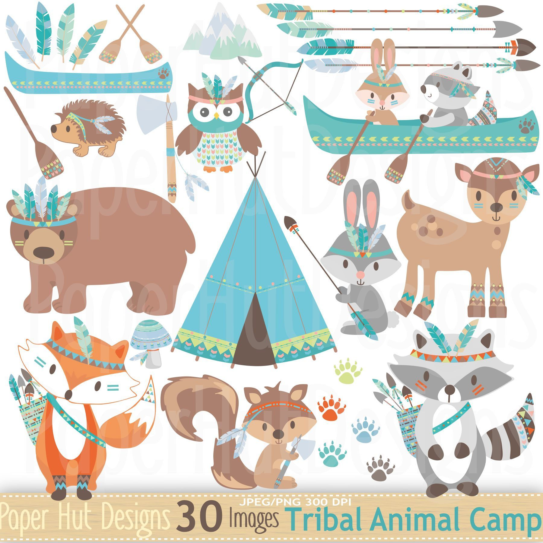 Baby boy woodland animal clipart clip art library download Tribal Animals Clipart-Woodland Animals Clip Art-Cute Tribal Forest ... clip art library download