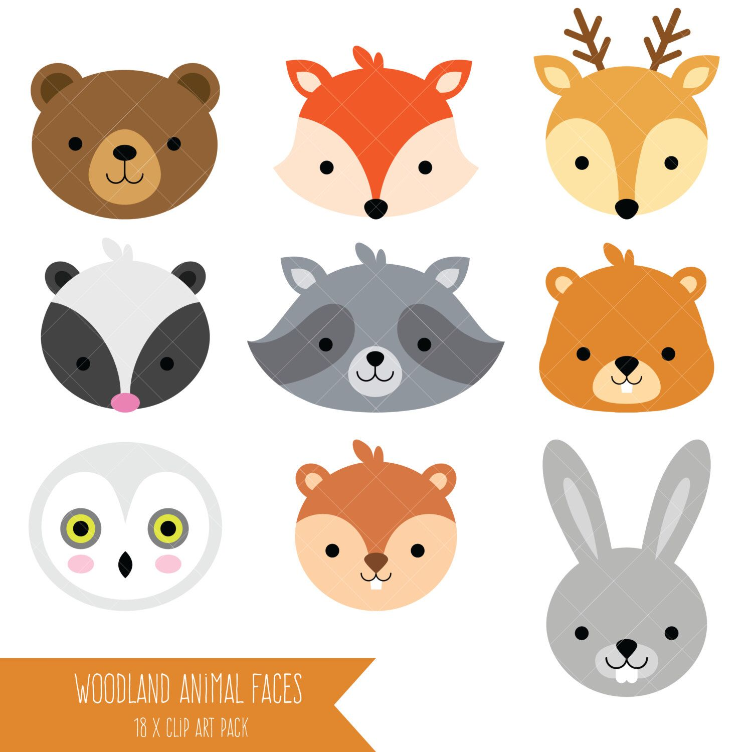 Baby boy woodland animal clipart image free library Woodland Animal Faces Clipart / Photo Booth Masks / Baby Shower ... image free library