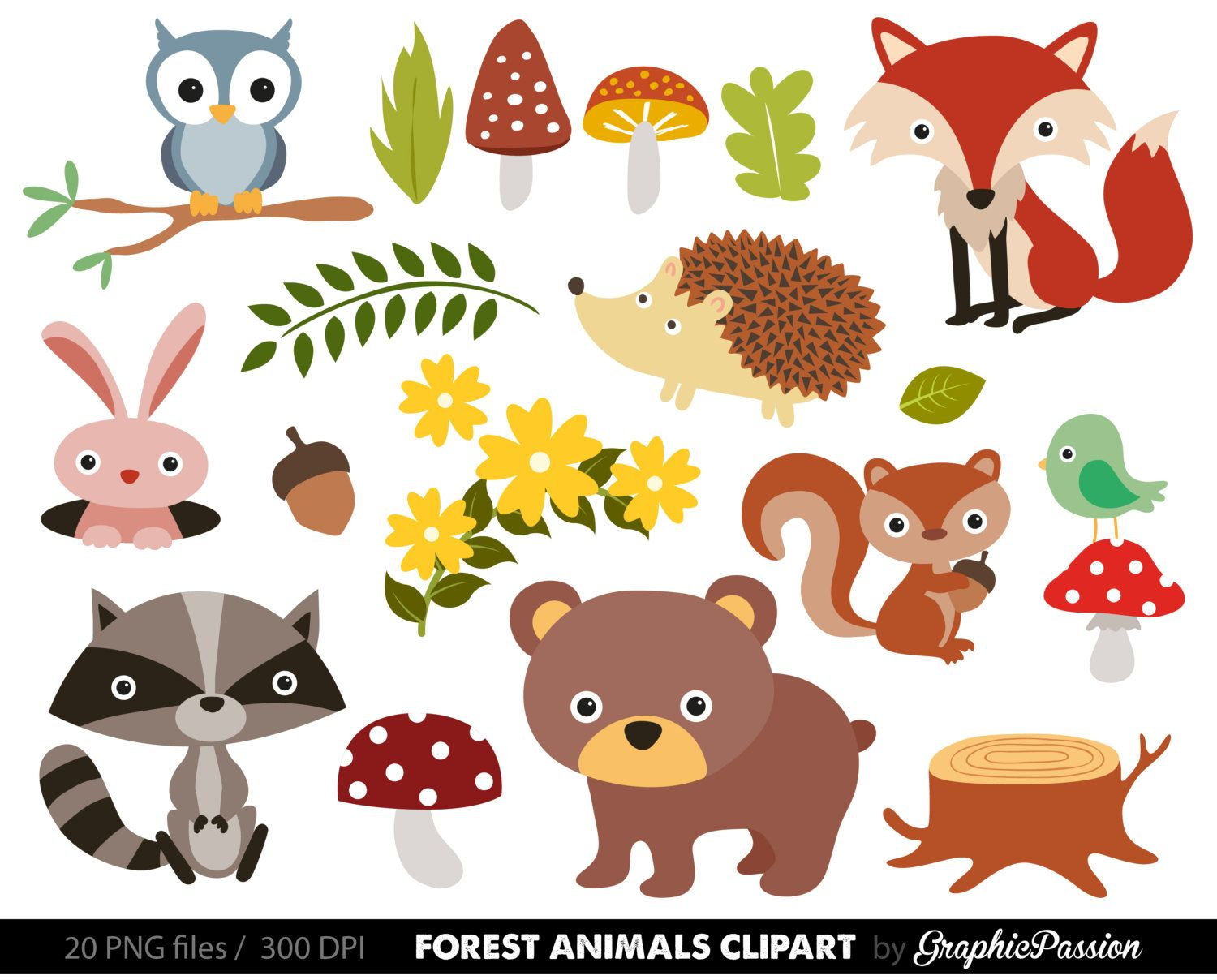 Baby boy woodland animal clipart svg library stock Free Woodland Animal Clipart For Kids | Project life albums ... svg library stock