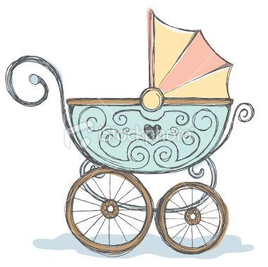Baby farting in crib clipart freeuse Hand drawn pen and ink color rendering of baby stroller. | multiples ... freeuse