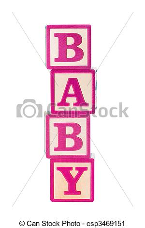 Baby building blocks clipart. Stock photography of pink