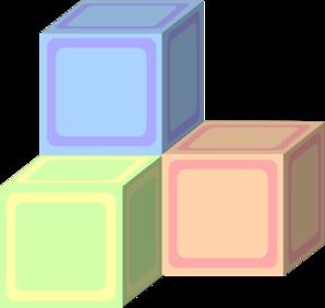 Baby building blocks clipart. Kid tri plain block