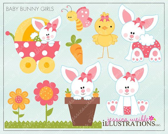 Baby bunny digital clipart png download Baby Bunny Girls Cute Digital Clipart, Easter Bunny Clipart, Baby ... png download