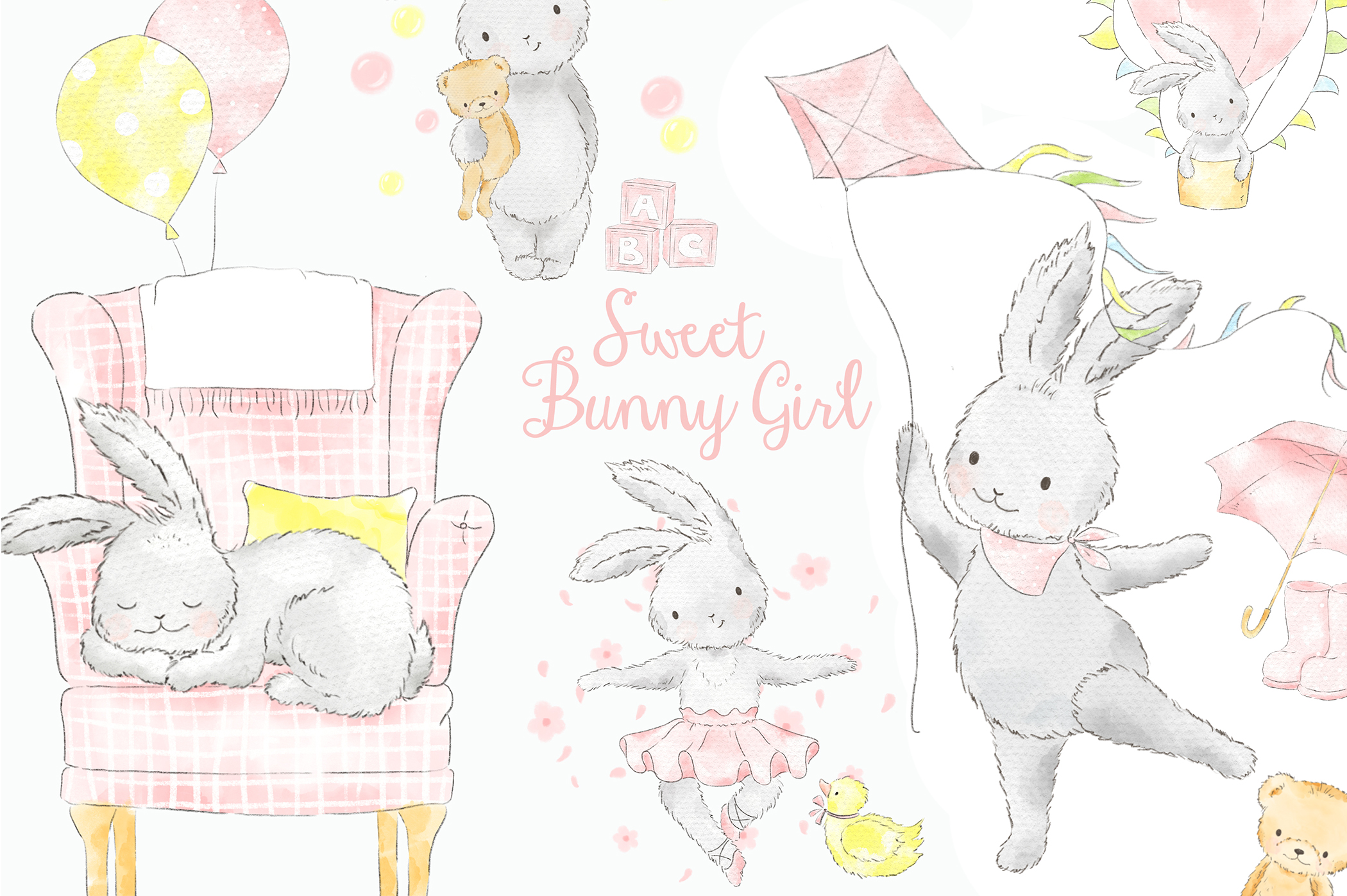 Baby bunny digital clipart vector black and white download Sweet Pink Bunny Girl Watercolor Clipart vector black and white download