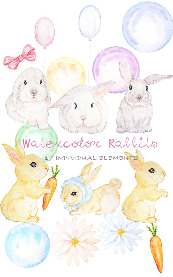 Baby bunny digital clipart picture freeuse library Cute Digital Watercolor Rabbit Clipart Hand Drawn Bunny | Watercolor ... picture freeuse library