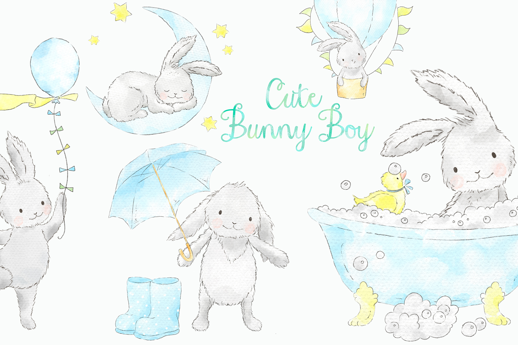 Baby bunny digital clipart clip freeuse stock Cute Blue Bunny Boy Watercolor Clip Art clip freeuse stock