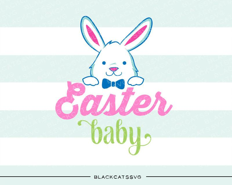 Baby bunny digital clipart banner freeuse download Easter baby Bunny - colored SVG boy and girl file Cutting File Clipart in  Svg, Eps, Dxf, Png for Cricut & Silhouette banner freeuse download