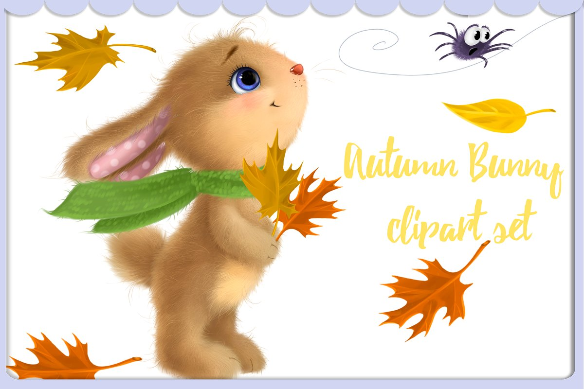 Baby bunny digital clipart image library stock Cute Autumn Bunny clipart set image library stock