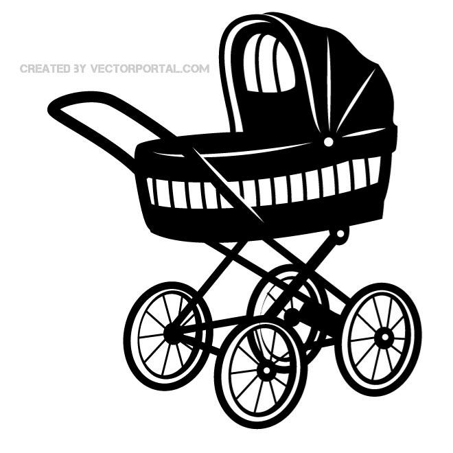 Baby carriage clipart black and white jpg freeuse stock BABY STROLLER VECTOR IMAGE - Free vector image in AI and EPS format. jpg freeuse stock