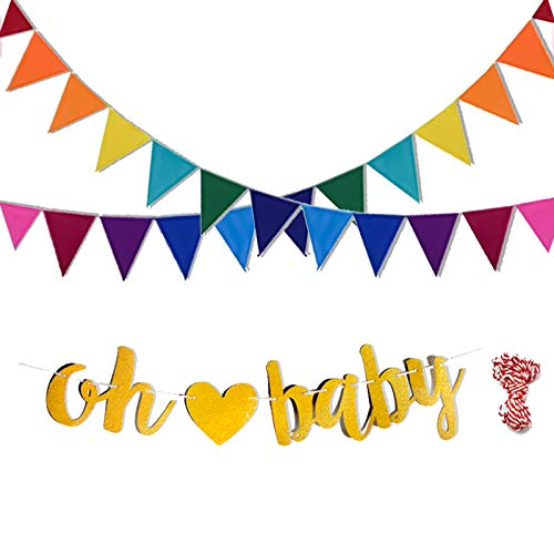Baby celebration banner clipart stock VGoodall Rainbow Felt Fabric Bunting and Oh Baby Banner Decorative ... stock