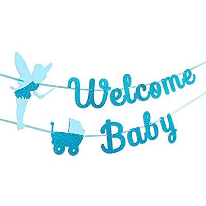 Baby celebration banner clipart vector transparent stock Amazon.com: TMYSP Baby Shower Bunting garland Glitter Blue infant ... vector transparent stock