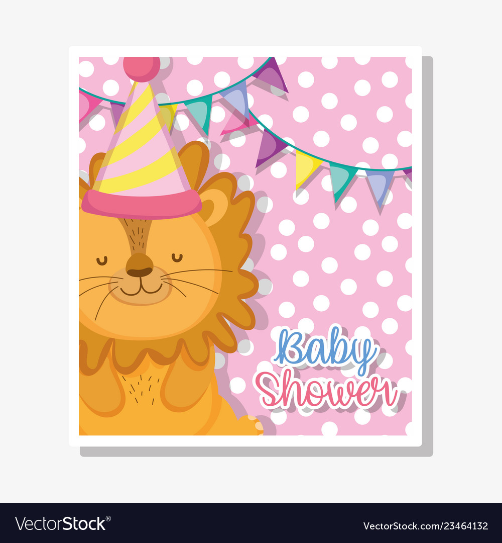 Baby celebration banner clipart clip art royalty free library Lion with party banner to baby shower celebration clip art royalty free library