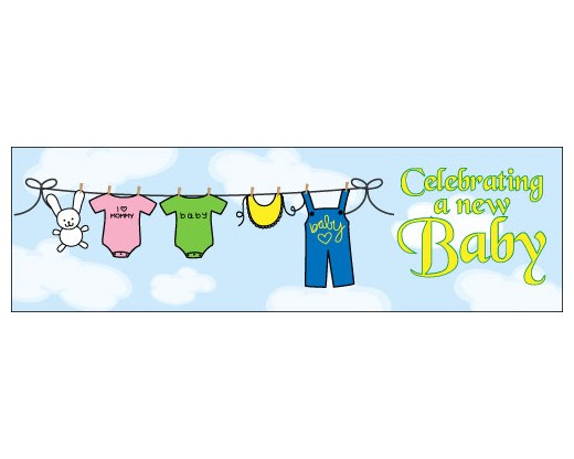 Baby celebration banner clipart image library download Celebrating a New Baby Banner 1.5x5\' image library download