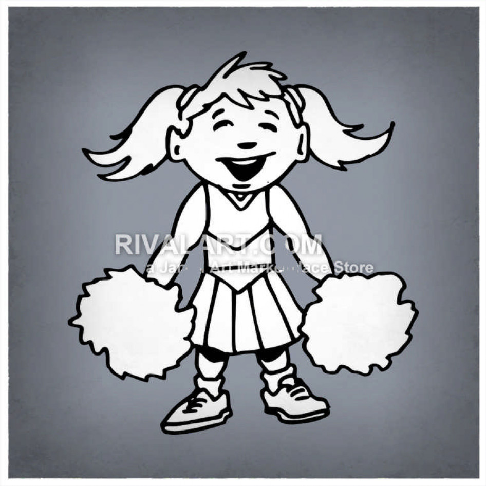 Baby cheerleader clipart black image free library Little Girl Cheerleader image free library