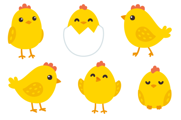 Baby chick face clipart clipart transparent library Cute baby chicken set @creativework247 | Illustrations - Hand ... clipart transparent library