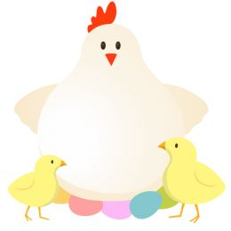 Baby chicks following mom clipart clip stock Mother hen colored eggs and baby chicks easter clipart image #20319 clip stock