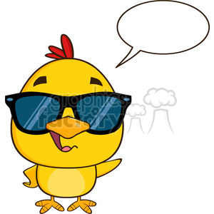 royalty free rf clipart illustration cute yellow chick cartoon character  wearing sunglasses, talking and waving vector illustration isolated on  white ... image black and white stock