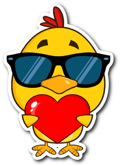 Cute Yellow Chick With Sunglasses And Heart 3\
