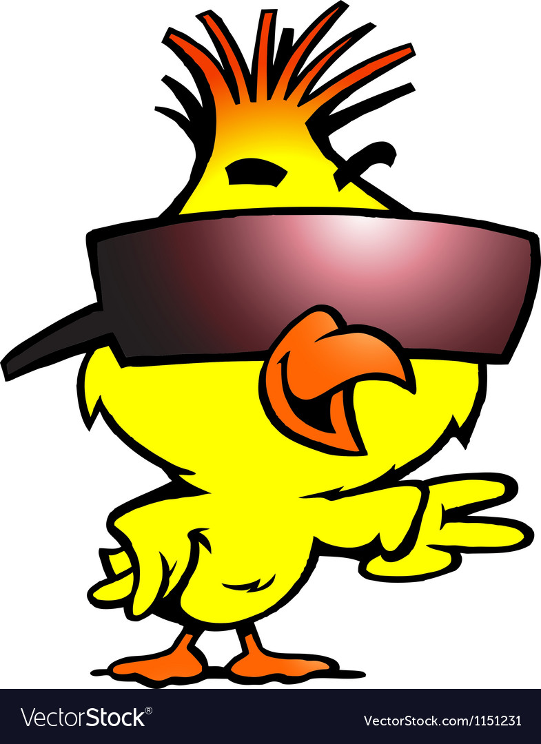 Hand-drawn of an smart chicken with cool sunglass image royalty free download