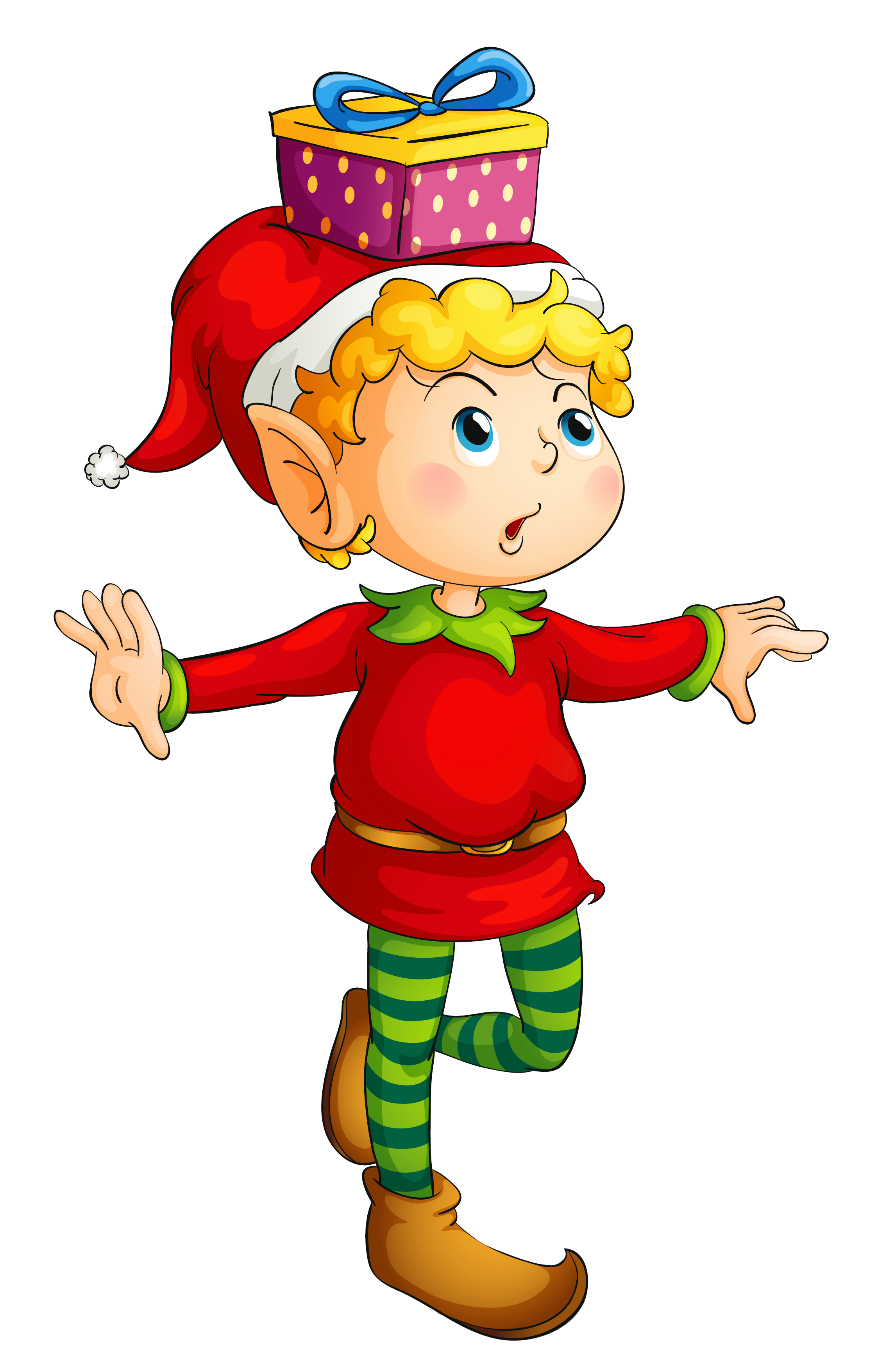 Kid christmas clipart picture black and white stock Christmas Elf with Gift PNG Picture | Christmas Crafts | Pinterest ... picture black and white stock