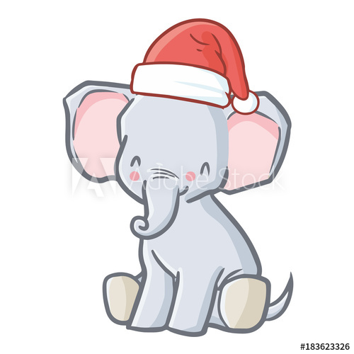 Baby christmas elephant clipart clipart royalty free stock Cute and funny baby elephant wearing Santa\'s hat for Christmas ... clipart royalty free stock