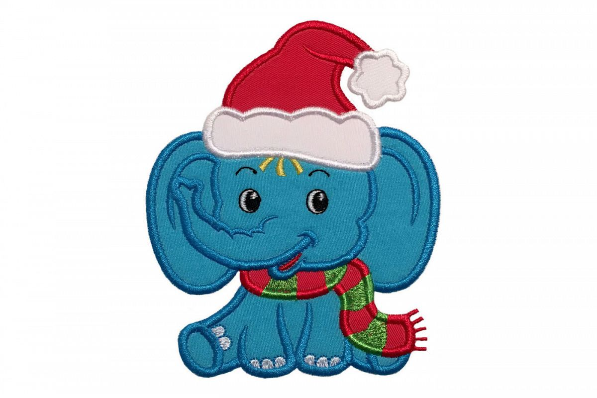 Baby christmas elephant clipart image black and white stock Christmas Baby Boy Elephant Machine Embroidery Applique Design. image black and white stock