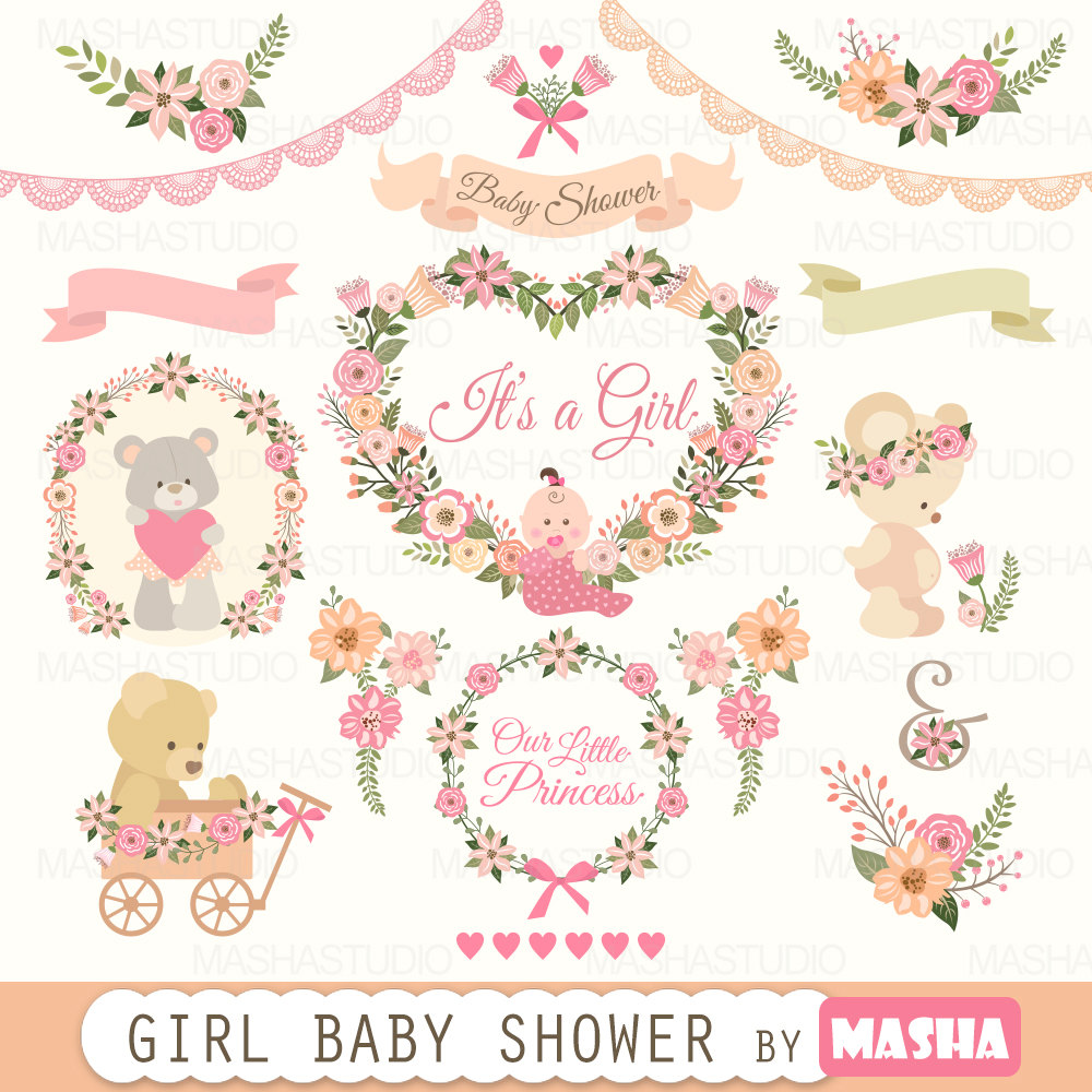 Baby clipart baby shower girl svg transparent Baby shower clipart: Girl Baby Shower clipart with svg transparent
