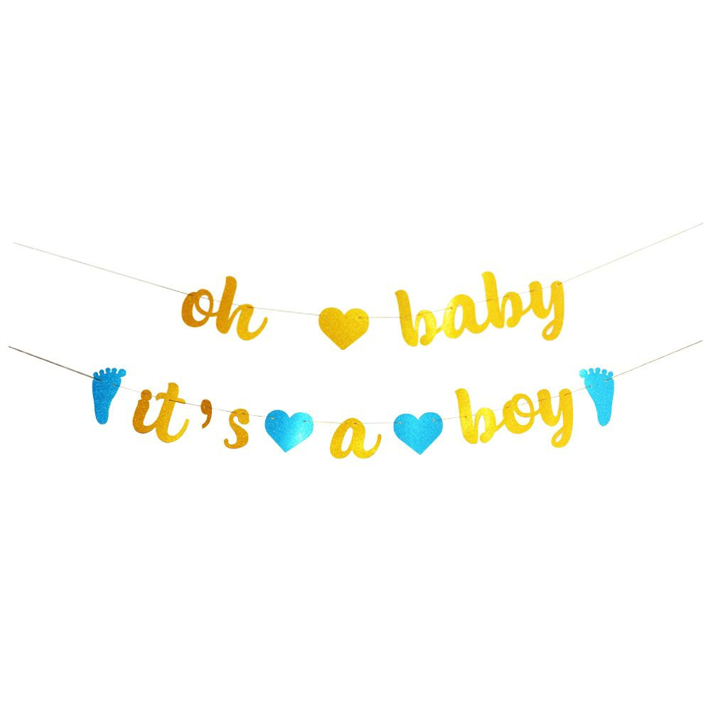 Baby clipart banner image transparent GOER Baby Shower Banner,No DIY Required oh baby it\'s a boy Gold and Blue  Glitter Garland Photo Props for Baby Shower Party Decorations,Total Length  ... image transparent