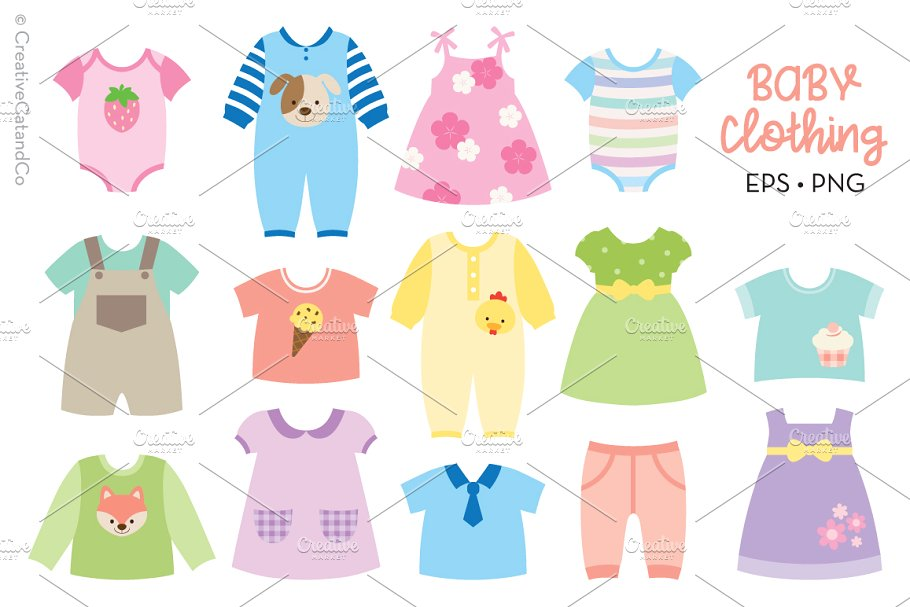 Baby clothes clipart svg library Baby Clothing Vector and PNG svg library