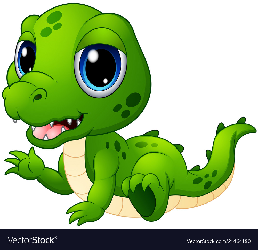 Baby crocodile clipart black and white stock Cute baby crocodile cartoon black and white stock