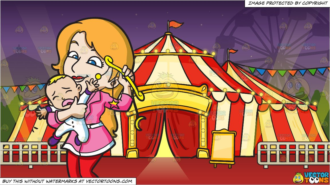 Baby crying circus clipart clipart freeuse library A Mother Comforting Her Crying Baby Boy With A Toy and A Circus Tent  Background clipart freeuse library