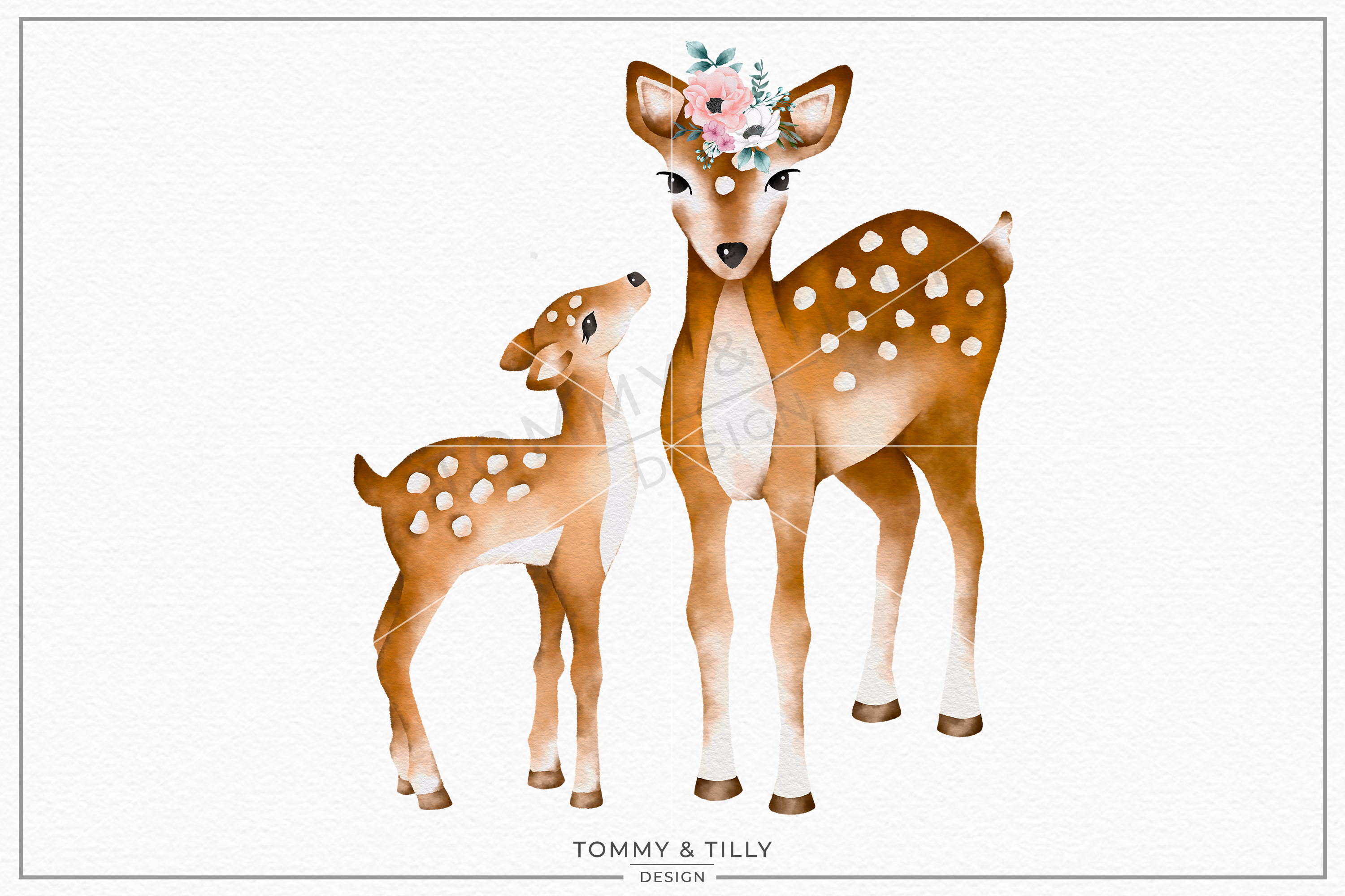 Baby deer pictures clipart graphic black and white Mummy and Baby Deer No.1 - Sublimation PNG Clipart graphic black and white