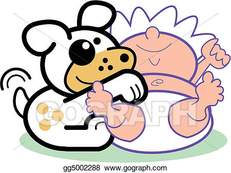 EPS Illustration - Cartoon baby infant & dog clip art. Vector ... png royalty free stock
