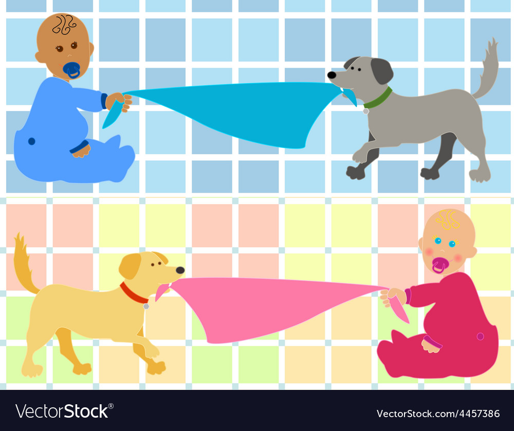 Baby dog clipart vector png black and white download Cartoon baby with dog pulling blanket png black and white download