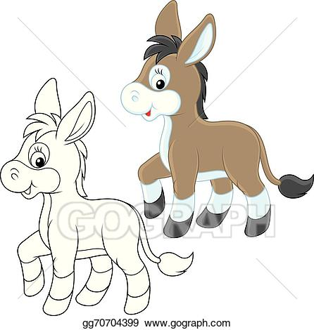 Baby donkey animals clipart picture free stock Vector Stock - Donkey. Clipart Illustration gg70704399 - GoGraph picture free stock