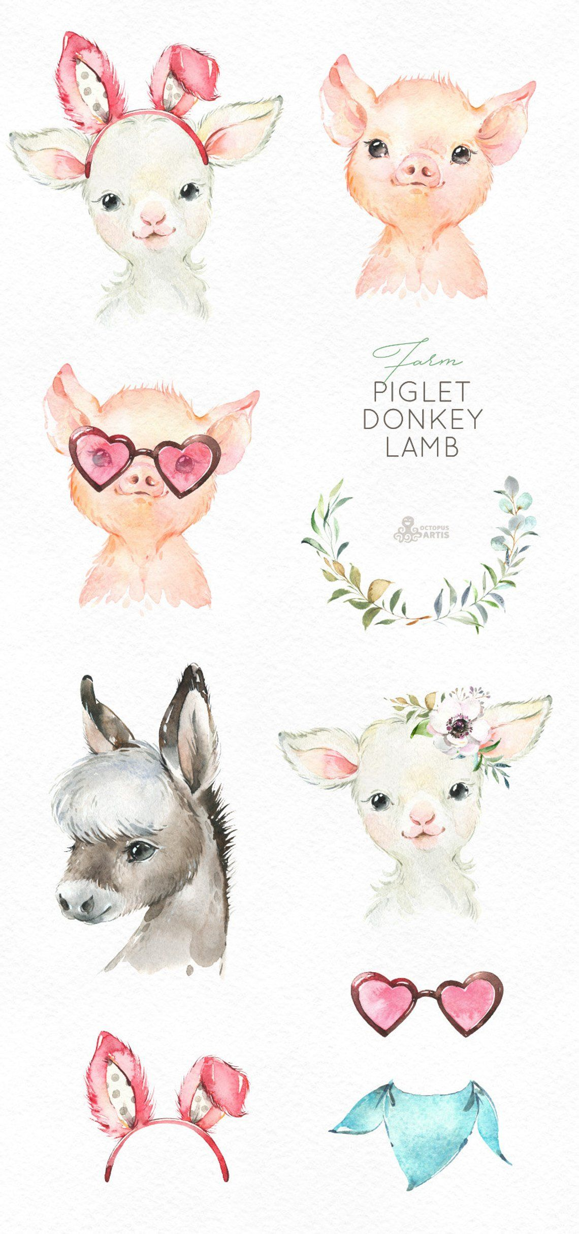 Baby donkey animals clipart jpg library Farm Piglet Donkey Lamb. Watercolor little animals clipart, baby pig ... jpg library