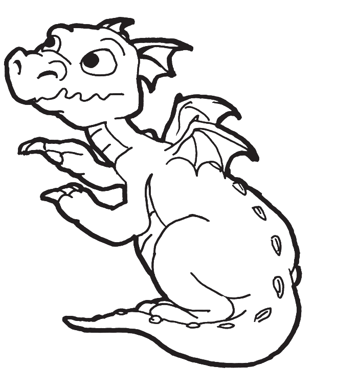 Baby dragon clipart black and white