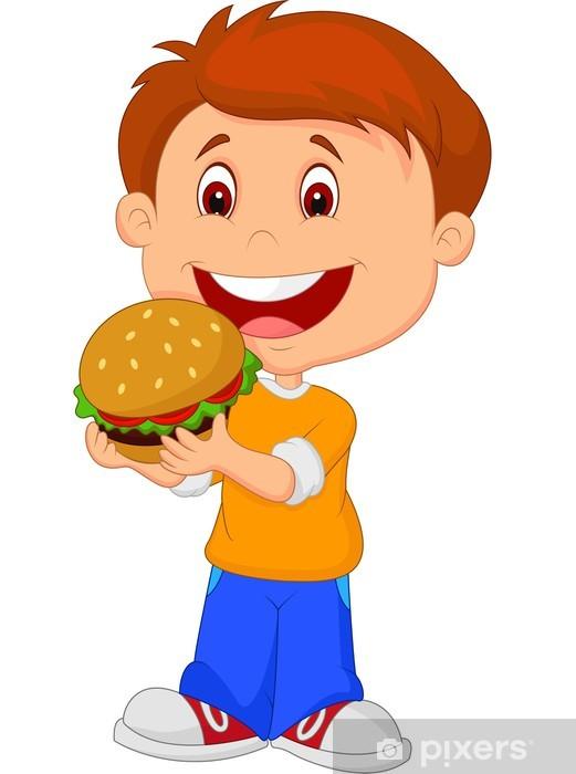 Baby eating hamburger clipart image transparent Cartoon boy eating burger Wall Mural - Vinyl image transparent