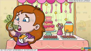 Baby eating hamburger clipart picture A Girl Smelling Her Stinky Breath While Eating A Hamburger and A Baby  Shower For A Girl Background picture