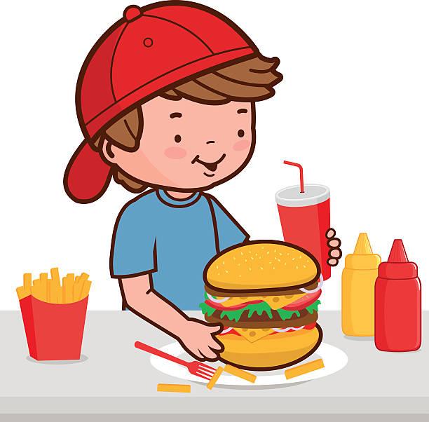 Eating hamburger clipart