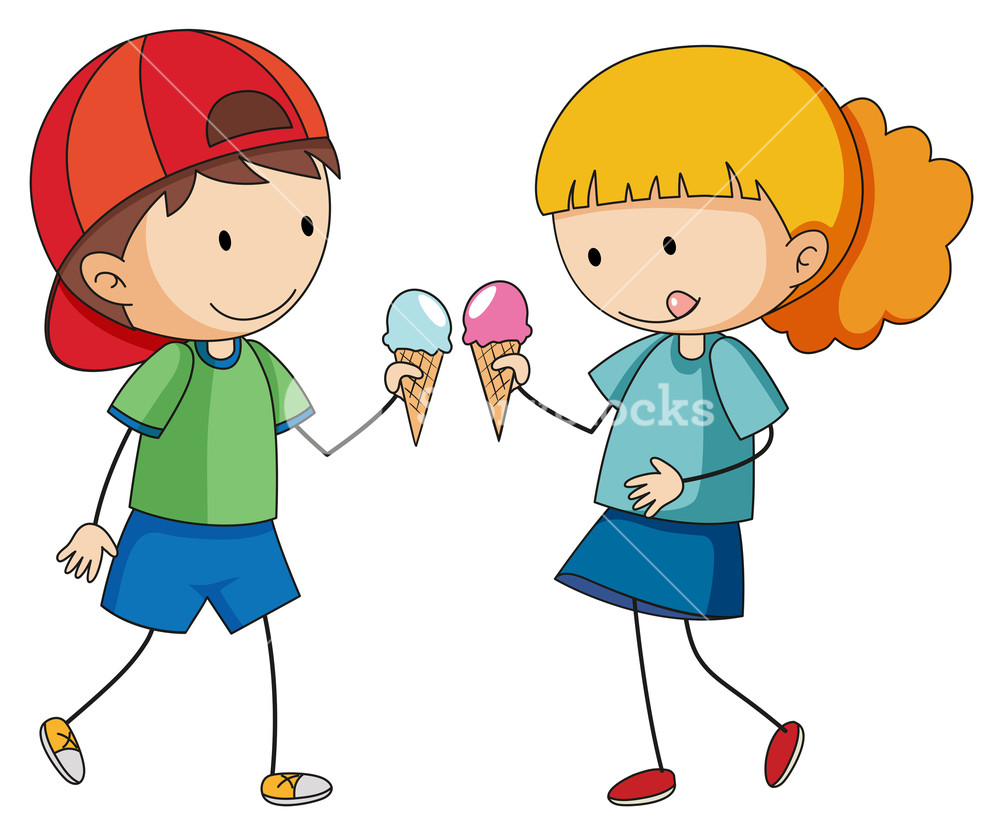 Kids eating ice cream clipart png transparent library Doodle kids eating icecream Royalty-Free Stock Image - Storyblocks ... png transparent library