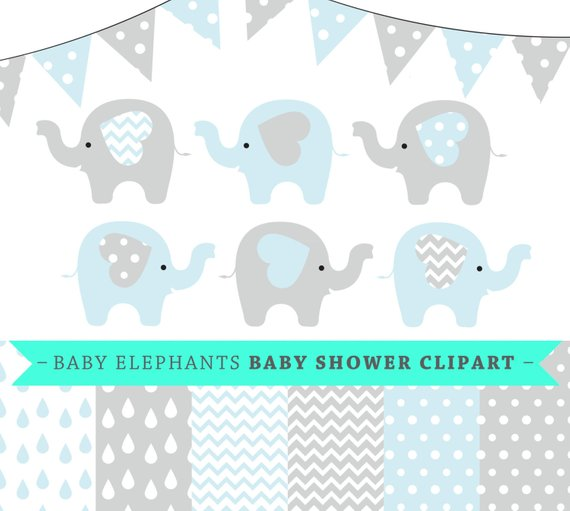 Baby elephant clipart vector graphic royalty free Premium baby shower vector clipart - Baby elephants - blue and grey ... graphic royalty free