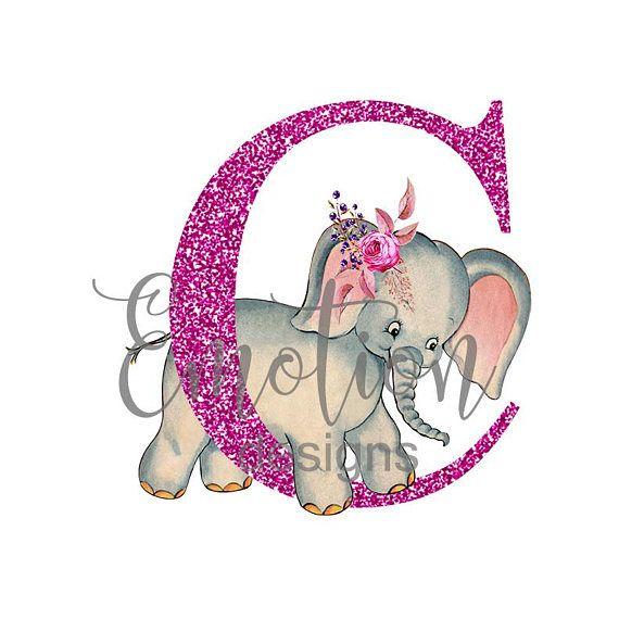 Baby elephant monogram clipart clip art stock Pink Glitter Monogram Clip Art, Baby Elephant, instant download ... clip art stock