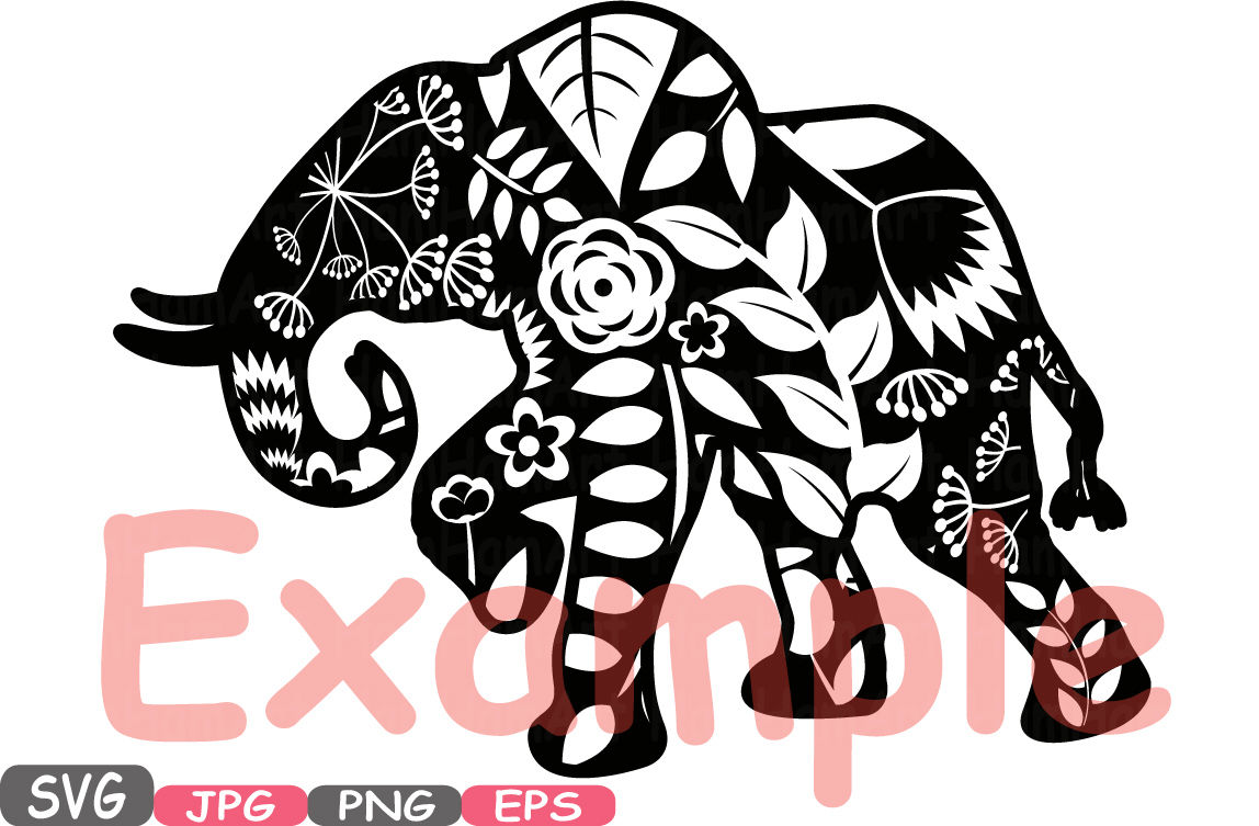 Baby elephant monogram clipart svg transparent stock Elephant Safari Mascot Flower Monogram Cutting Files SVG Silhouette ... svg transparent stock