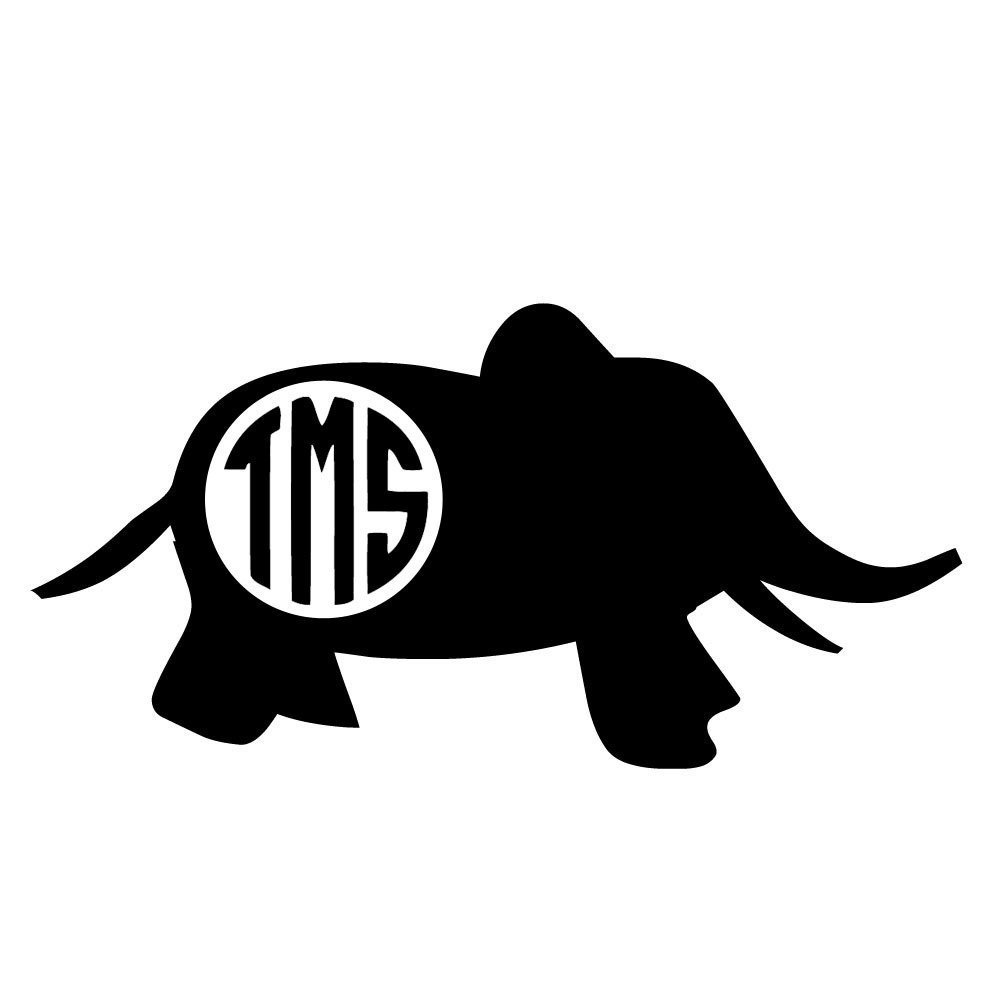 Baby elephant monogram clipart jpg transparent library Baby Elephant Monogram Decal jpg transparent library